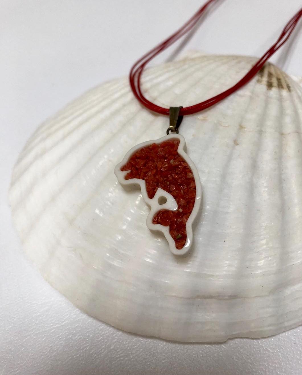 Pendente Delfino in corallo rosso