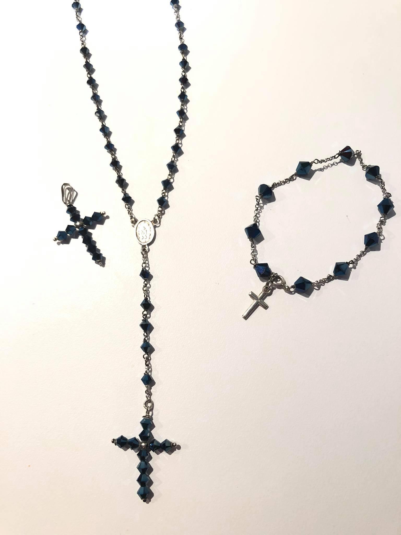 Parure rosario in argento e pietre vitree blu